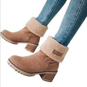 Warm Suede Chunky Round Heel booties